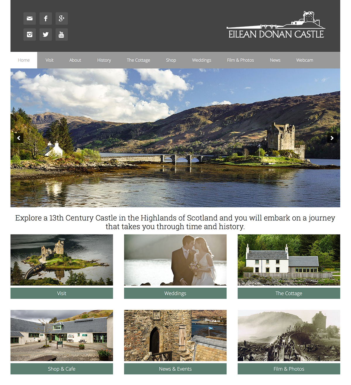 Hunter Davies Web Design project for Eilean Donan Castle